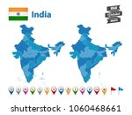 india   high detailed map with... | Shutterstock .eps vector #1060468661