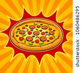 round pizza pop art retro...   Shutterstock .eps vector #1060486295