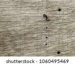 old wood board with nail  | Shutterstock . vector #1060495469