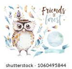 Stock photo cute bohemian baby owl animals for kindergarten woodland nursery isolated decoration forest owls 1060495844