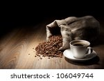 coffee cup with burlap sack of... | Shutterstock . vector #106049744