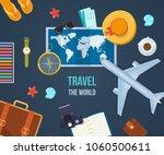 summer travel the world. air... | Shutterstock .eps vector #1060500611