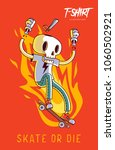 funny skeleton skater. print on ... | Shutterstock .eps vector #1060502921