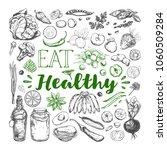 eat healthy food. vegetarian...   Shutterstock .eps vector #1060509284