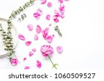 Stock photo rose eucalyptus and plates in spring design white background to 1060509527