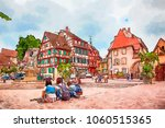 colmar  france  watercolor style | Shutterstock . vector #1060515365