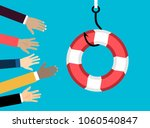 businessmans getting lifebuoy   ... | Shutterstock .eps vector #1060540847