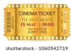 cinema ticket  golden ticket ... | Shutterstock .eps vector #1060542719