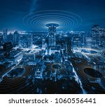 smart city and connection lines.... | Shutterstock . vector #1060556441