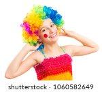 funny little girl in clown wig... | Shutterstock . vector #1060582649