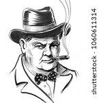 Winston Churchill. Ink Black...