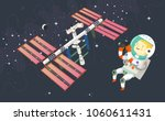 woman astronaut in outer space... | Shutterstock .eps vector #1060611431
