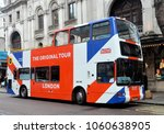 Small photo of LONDON Ã MARCH 31, 2018. A double deck open top city touring bus in Charing Cross Road, London, UK.