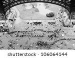 Crowds Under Eiffel Tower In...