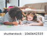 little cute girls studying and...   Shutterstock . vector #1060642535