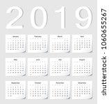 european 2019 vector calendar... | Shutterstock .eps vector #1060655267