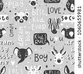 cute scandi black and white... | Shutterstock .eps vector #1060655981