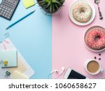 flat lay coffee cup donut... | Shutterstock . vector #1060658627