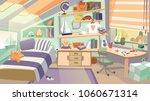 cartoon kid bedroom with boy... | Shutterstock .eps vector #1060671314