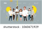 Main Page Web Design with Business Cartoon Characters in Flat Style for Your Projects | Shutterstock vector #1060671929