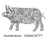 zentangle illustration with pig....   Shutterstock .eps vector #1060676777