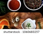 white sauce on rustic wooden... | Shutterstock . vector #1060683257