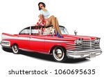 pin up girl and retro car... | Shutterstock .eps vector #1060695635