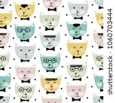 Stock vector vector seamless pattern with cute cats childish seamless pattern with adorable cat faces on 1060703444