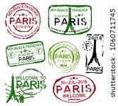 paris passport stamps set in...   Shutterstock .eps vector #1060711745