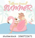 summer poster with relaxing... | Shutterstock .eps vector #1060722671