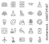 thin line icon set   battery... | Shutterstock .eps vector #1060729187