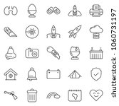 thin line icon set   rocket... | Shutterstock .eps vector #1060731197