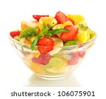 Glass Bowl With Fresh Fruits...