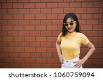 portrait asian hipster girl on... | Shutterstock . vector #1060759094