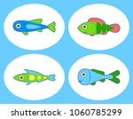 set of cute fish. isolated on... | Shutterstock .eps vector #1060785299