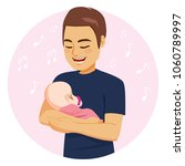 young dad with happy face... | Shutterstock .eps vector #1060789997