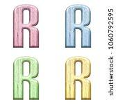 assorted pastel color wooden... | Shutterstock . vector #1060792595