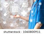 doctor pushing button qr code... | Shutterstock . vector #1060800911