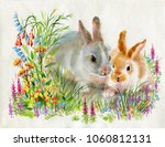 Watercolor Rabbits In Green...