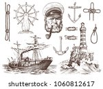 boatswain with pipe. lighthouse ... | Shutterstock .eps vector #1060812617