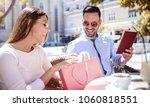 coffee break after shopping.... | Shutterstock . vector #1060818551