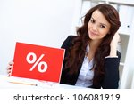 young business woman with sale...   Shutterstock . vector #106081919