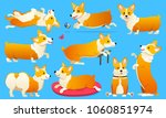set of cute dogs breed welsh... | Shutterstock .eps vector #1060851974