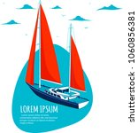 yacht club sticker with sail... | Shutterstock .eps vector #1060856381