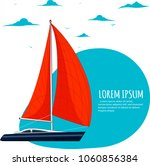 yacht club sticker with sail... | Shutterstock .eps vector #1060856384