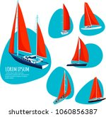 yacht club stickers with sail... | Shutterstock .eps vector #1060856387