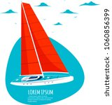 yacht club sticker with sail... | Shutterstock .eps vector #1060856399