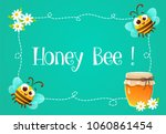 frame with cute bees  honey jar ... | Shutterstock .eps vector #1060861454