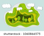 spring park with clouds. urban... | Shutterstock .eps vector #1060866575