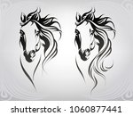 Stock vector vector silhouette of a horse s head 1060877441